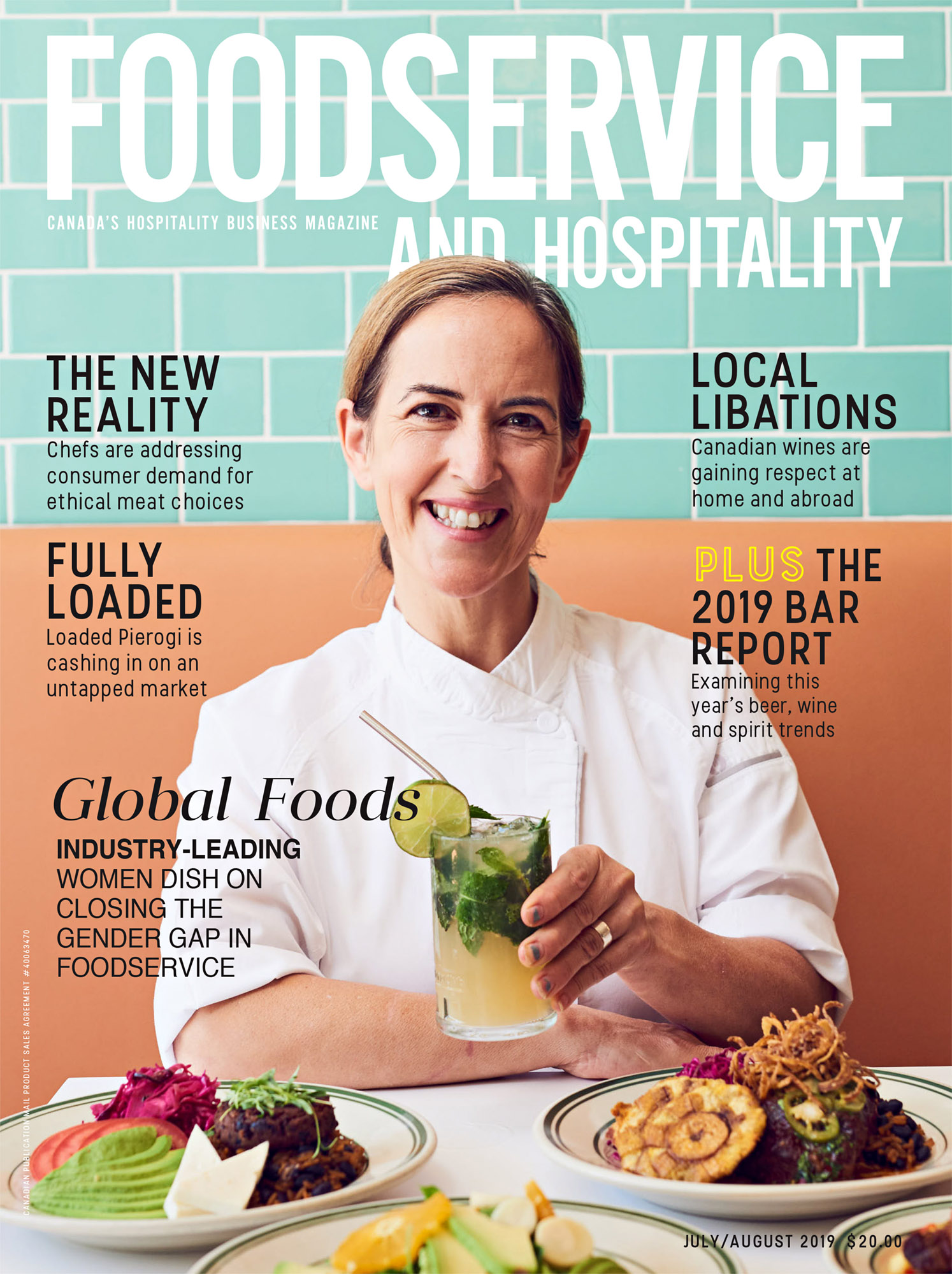 Cover of Foodservice and Hospitality Magazine showing smiling female chef seated at table with food