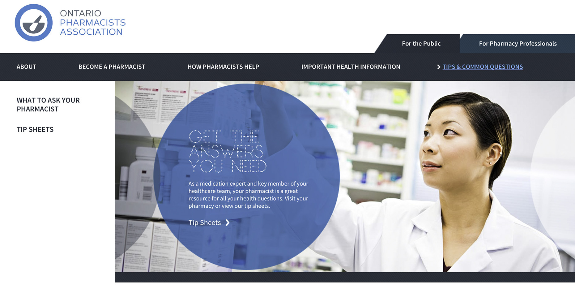 OPA corporate photograph of pharmacist reaching for drug vial on shelf